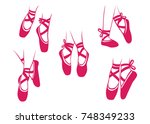 ballerina shoes and feet poses... | Shutterstock .eps vector #748349233