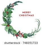 watercolor scandinavian... | Shutterstock . vector #748351723