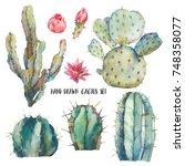 Watercolor Cactus Set. Natural...