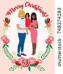 pregnant couple christmas card | Shutterstock .eps vector #748374283