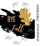 goodbye autumn golden lettering ... | Shutterstock .eps vector #748378003