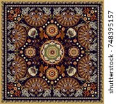 design for shawl  card  textile.... | Shutterstock .eps vector #748395157