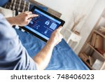 smart home control digital... | Shutterstock . vector #748406023
