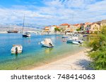view of beautiful beach with... | Shutterstock . vector #748414063