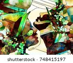stained glass forever series.... | Shutterstock . vector #748415197