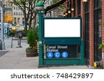blank billboard on subway... | Shutterstock . vector #748429897