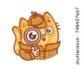 cute ginger cat dressed as... | Shutterstock .eps vector #748437667