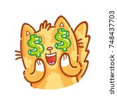 cute ginger cat  adorable ... | Shutterstock .eps vector #748437703