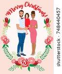 pregnant couple christmas card | Shutterstock .eps vector #748440457