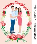 pregnant couple christmas card   Shutterstock .eps vector #748440463