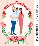 pregnant couple christmas card   Shutterstock .eps vector #748440493