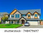 big family house with double... | Shutterstock . vector #748479697