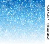 blue wallpaper snowflake  ...   Shutterstock .eps vector #748491043
