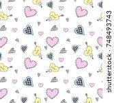 seamless heart doodle pattern... | Shutterstock .eps vector #748493743
