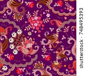 ethnic buta floral pattern with ... | Shutterstock .eps vector #748495393