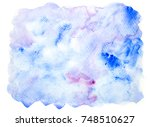 blue watercolor stains bright... | Shutterstock . vector #748510627