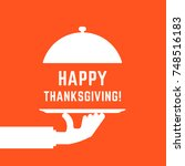 happy thanksgiving text with... | Shutterstock .eps vector #748516183