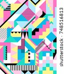 seamless geometric pattern in... | Shutterstock .eps vector #748516813
