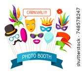 carnival photo booth props.... | Shutterstock .eps vector #748578247