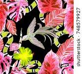 fashion print. watercolor... | Shutterstock . vector #748579927