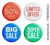 sale buttons. sale bag tag... | Shutterstock . vector #748582813