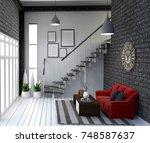 modern loft style living... | Shutterstock . vector #748587637