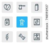 vector illustration of 9 drink... | Shutterstock .eps vector #748593937
