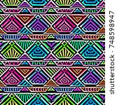 boho textile seamless pattern.... | Shutterstock .eps vector #748598947