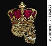 embroidery skull in golden... | Shutterstock .eps vector #748602823
