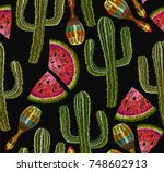 embroidery cactus and maracas...   Shutterstock .eps vector #748602913