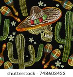 embroidery mexican culture... | Shutterstock .eps vector #748603423