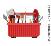 construction toolbox isolated | Shutterstock .eps vector #748610617