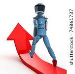 robot walking on red arrow | Shutterstock . vector #74861737