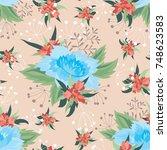 seamless floral vector pattern  ... | Shutterstock .eps vector #748623583