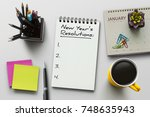 new year resolutions  goals or... | Shutterstock . vector #748635943