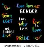 gay pride slogan with hand...   Shutterstock .eps vector #748640413