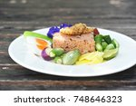 spicy shrimp paste fried rice... | Shutterstock . vector #748646323