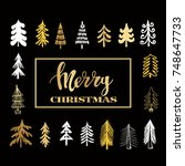 template  christmas  card with... | Shutterstock .eps vector #748647733
