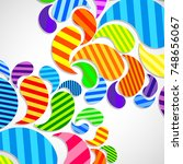 bright striped colorful curved... | Shutterstock . vector #748656067