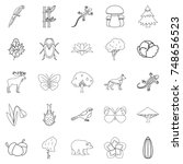 forest animal icons set.... | Shutterstock . vector #748656523