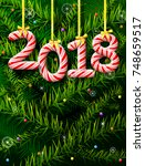 new year 2018 in shape of candy ... | Shutterstock . vector #748659517