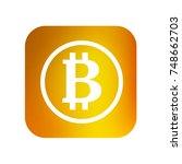 bitcoin icon. button. vector... | Shutterstock .eps vector #748662703