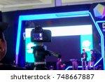 photographer video recording... | Shutterstock . vector #748667887