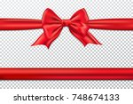 red gift bow and ribbon. | Shutterstock .eps vector #748674133