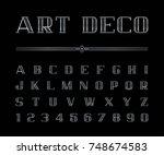 vector of art deco font and... | Shutterstock .eps vector #748674583