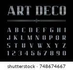 vector of art deco font and... | Shutterstock .eps vector #748674667
