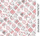 firefighter seamless pattern... | Shutterstock .eps vector #748676767