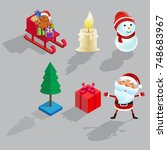 christmas isometric icons set...   Shutterstock .eps vector #748683967