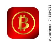 bitcoin icon button. red  gold. ... | Shutterstock .eps vector #748684783