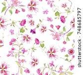 watercolor pattern flowers... | Shutterstock . vector #748685797